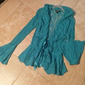 Betsy Johnson ruffled alpaca sweater jacket